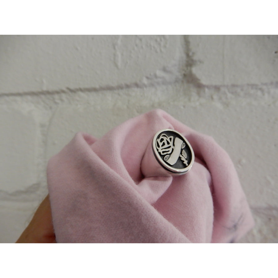 Sacred Rose Scroll Signet Ring