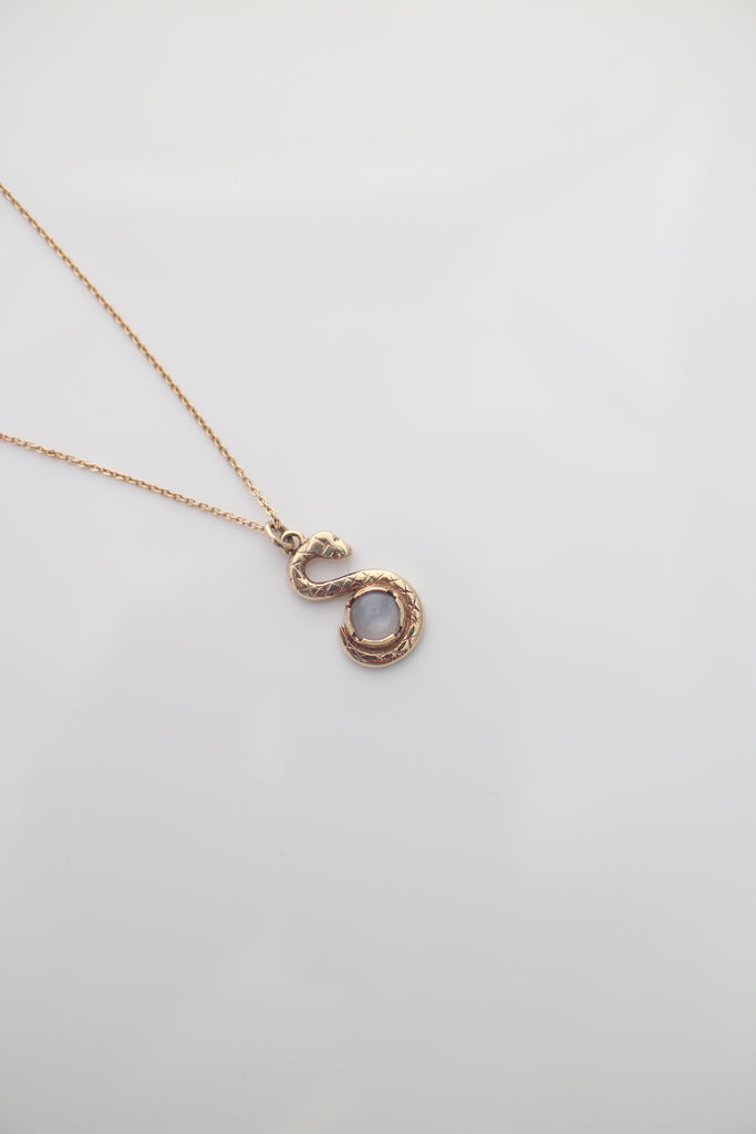 9ct yellow gold snake keeper necklace, moonstone