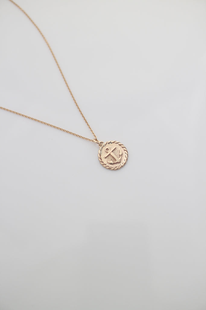 Gold Anchor Rope Pendant