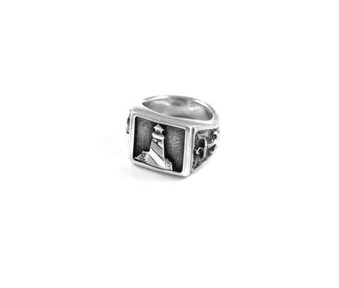 Lighthouse with Anchors Signet Ring