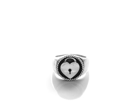Heart Locket Signet Ring