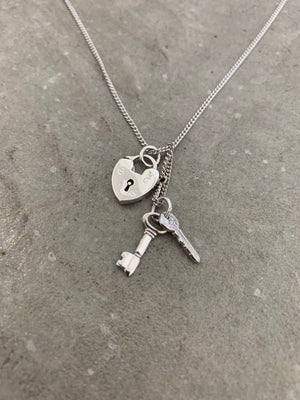 Heart locket and Keys Necklace