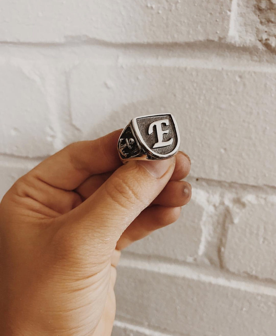 Single Initial Signet Ring With Anchors