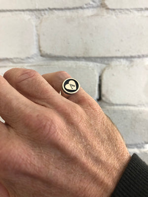Simple Heart Signet Ring with Initial