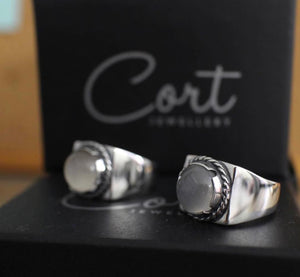 Moonstone - Modern Signet Ring