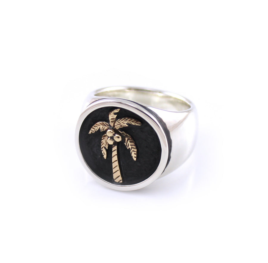 Two Tone Palm Tree Signet Ring