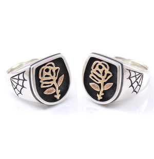 Two Tone Sacred Rose Signet Ring