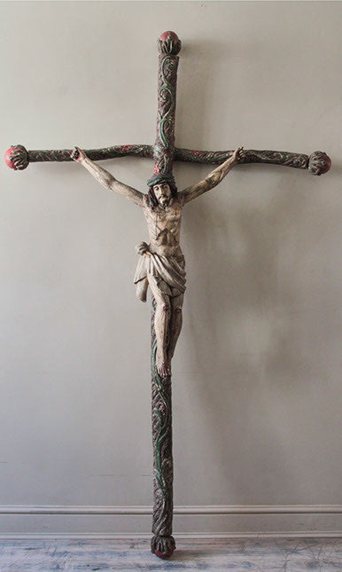 c19th South American carved wooden crucifix