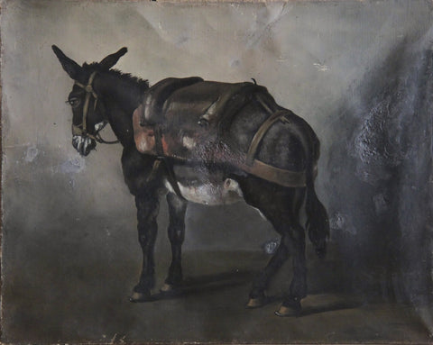 c19th French oil on canvas of donkey