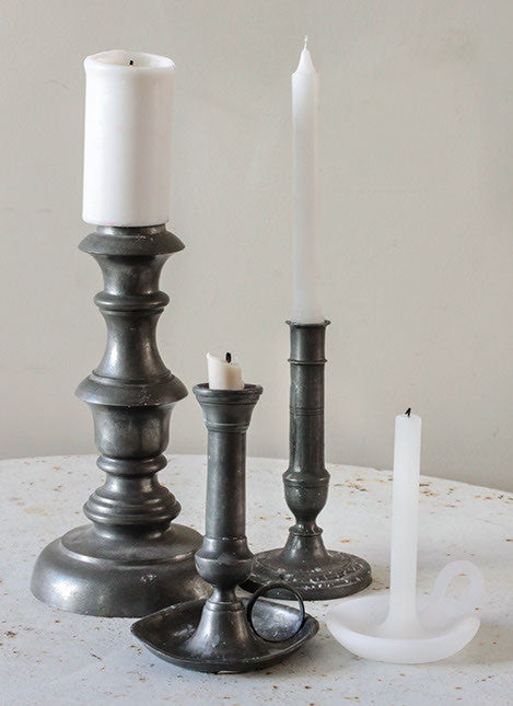 Collection of Pewter candlesticks