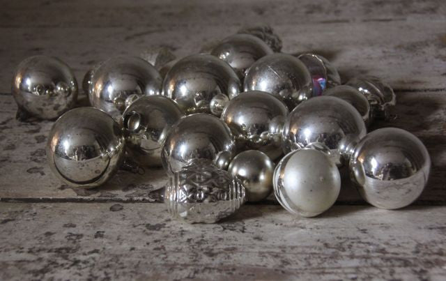 Large collection vintage silver  glass baubles