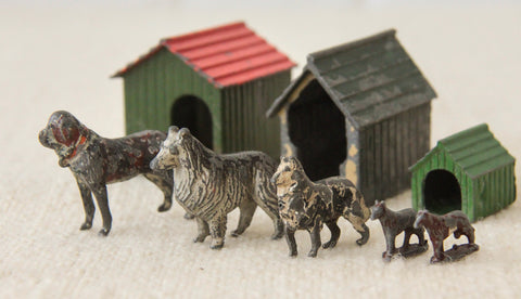 Collection of lead painted toy dogs & kennels