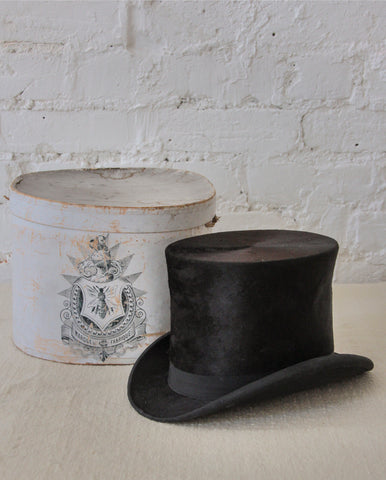 Silk top hat in original box