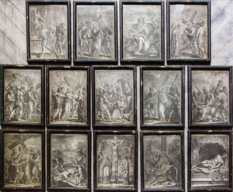 c18th Italian engravings of the stations of the cross.