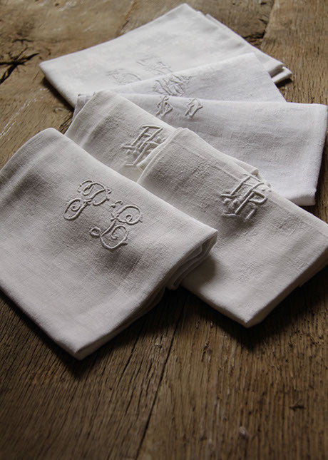 Selection monogrammed French linen napkins