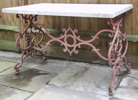 c19th Swedish iron table with marble top
