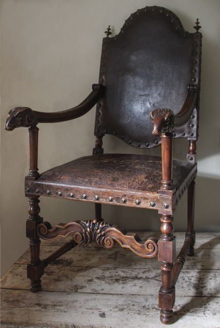 c19th French Leather chair