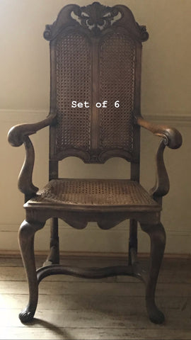 Set of 6 Jacobean revival caned dining chairs