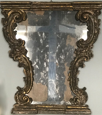 c18th Italian carved & gilded mirror, foxing in the shape of a cross