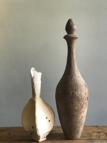 Pottery Bottle. Carved Bottle