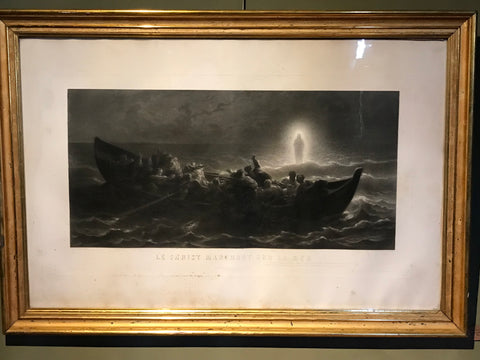 Large engraving in a gilt frame. Christ walks on the water