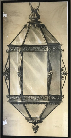 Charcoal drawing of a lantern.