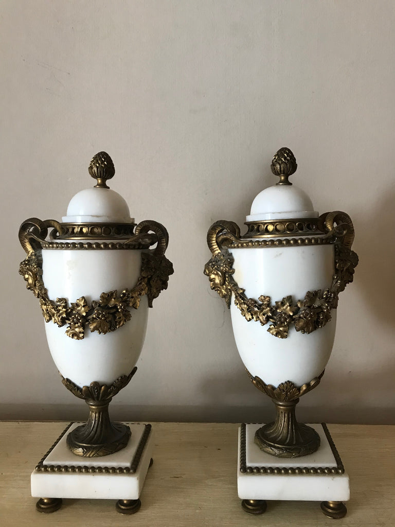 French Alabaster & Ormolu Urns