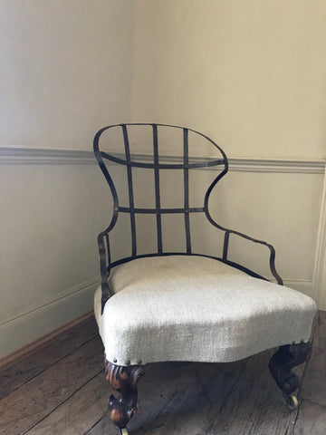 English Victorian Iron Back Armchair