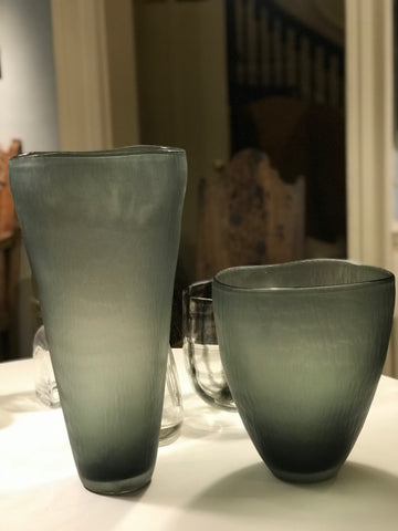 Pair Grey Glass  Vases