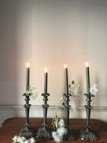 Set Four English Plate Candlesticks