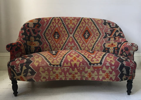 c19th Kilim covered French sofa
