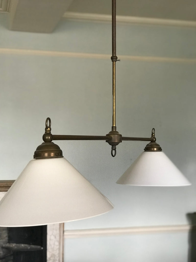 Brass adjustable light fitting with glass shades