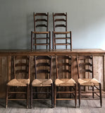 Set of 6 French rattan seat chairs