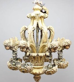 Baroque style Giltwood eight branch Chandelier