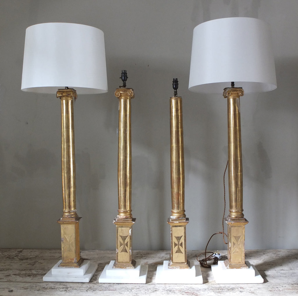 Pair Gilt wood lamps (one pair available)