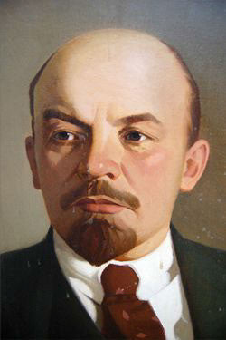 c20th Oil on canvas of Lenin