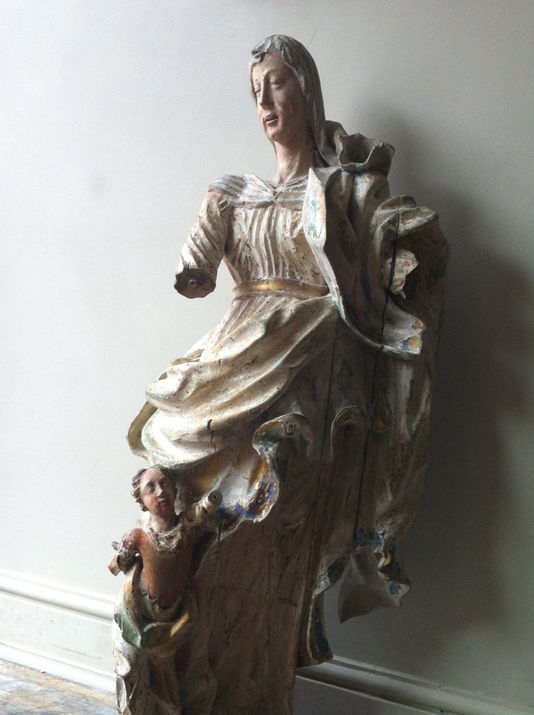 c17th German Carving of Madonna & Child
