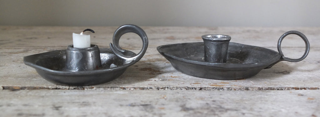 Pewter candleholders