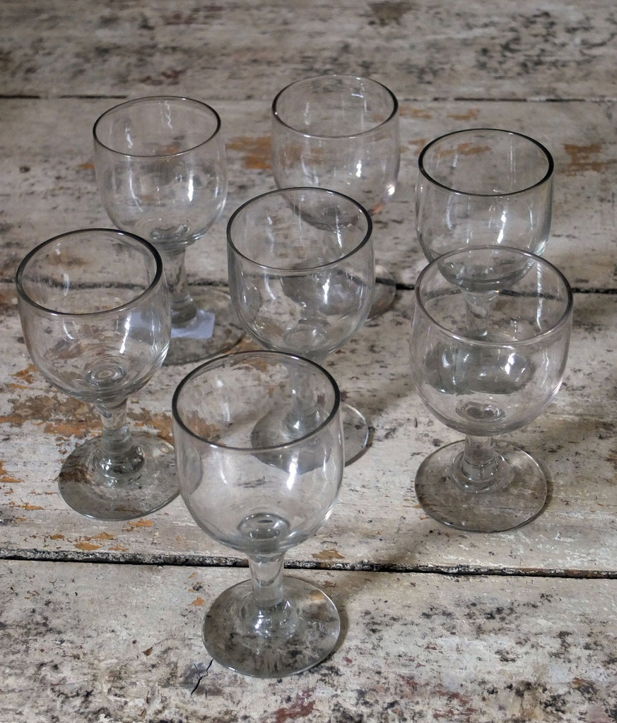 6 small French wine glasses