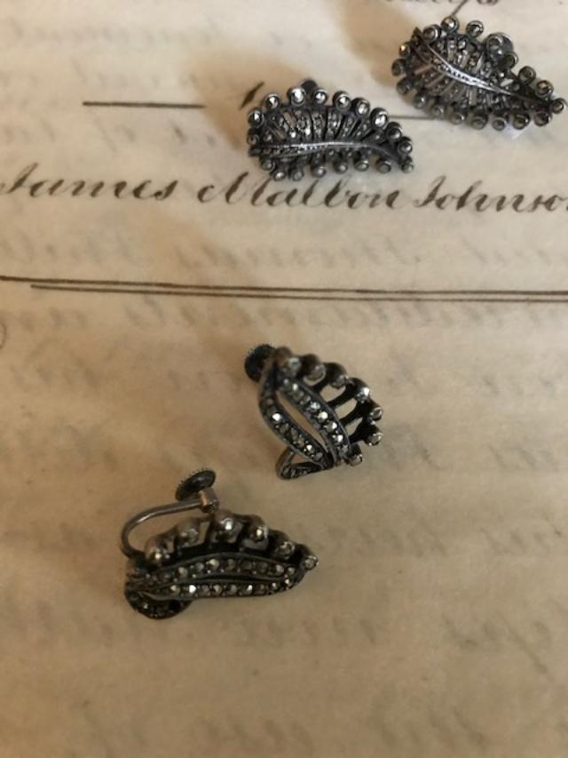 2 pairs marcasite earrings