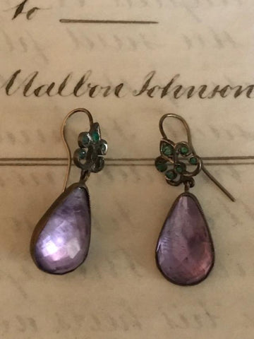 Pair of drop earrings Amethyst & Emeralds