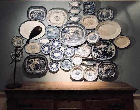 Large Collection of Blue & White Platters & Bowls