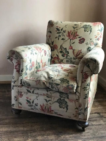 1920's English Linen Chintz covered Armchair