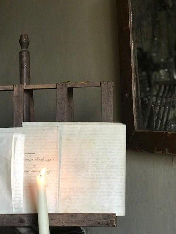 Music stand with candle sconce