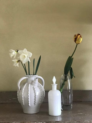 Glazed water jug. Milk glass decanter. Whitefriars vase