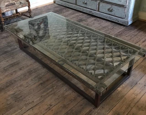 Spanish Iron & Glass Coffee Table
