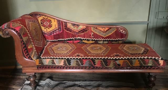 Kilim covered c19th mahogany chaise longue