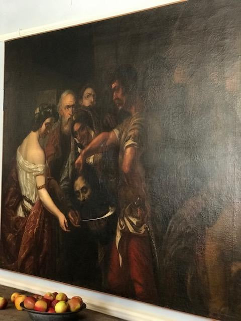 c18th Large canvas of Salome &  St.John the Baptist