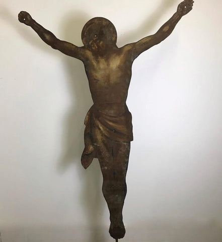 c19th Metal Christ on Stand. Life size