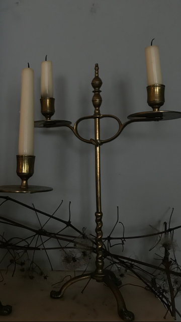 Pair of adjustable brass candlesticks